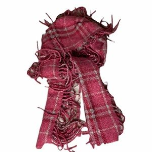 Burberry Pink Plaid Happy Fringed Scarf